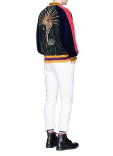Gucci Floral snake appliqué velvet souvenir jacket