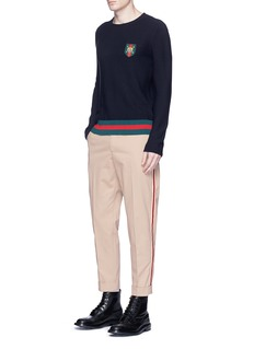 GucciTiger crest patch cotton sweater
