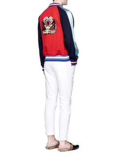Gucci Dog and tiger patch bomber jacket