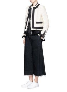 SacaiGuipure lace frayed Summer tweed jacket
