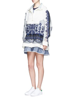 Sacai Embroidered tribal lace drawstring hooded jacket
