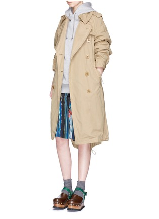 Figure View - Click To Enlarge - Sacai - Overdyed cotton oversized trench coat parka