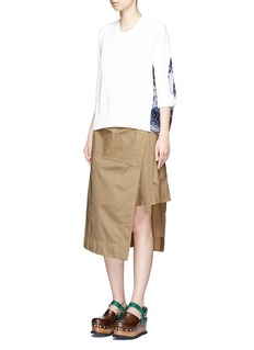 Sacai Pleated overdyed cotton wrap skirt
