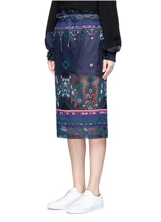 Front View - Click To Enlarge - Sacai - Embroidered tribal lace organza drawstring skirt