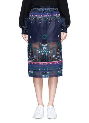 Main View - Click To Enlarge - Sacai - Embroidered tribal lace organza drawstring skirt