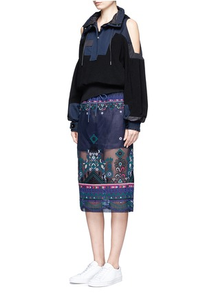 Figure View - Click To Enlarge - Sacai - Embroidered tribal lace organza drawstring skirt