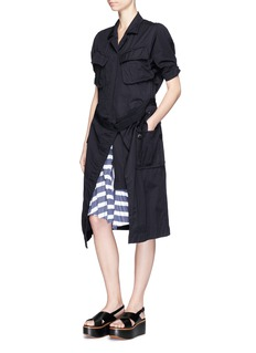 Sacai Belted wrap skirt overdyed cotton shirt dress