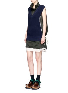 Sacai Sleeveless knit vest overdyed cotton dress