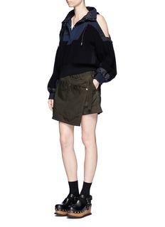 SacaiCanvas wrap front overdyed cotton shorts
