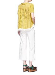 SacaiFloral eyelet lace back knit top