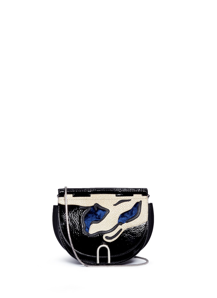 Hana mixed leather flap chain saddle bag by 3.1 Phillip Lim