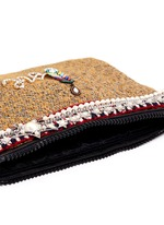 'Love' pearl star chain embellished bouclé clutch