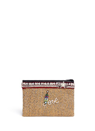 Main View - Click To Enlarge - Venna - 'Love' pearl star chain embellished bouclé clutch