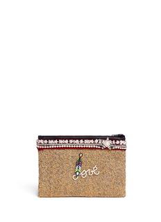 Venna'Love' pearl star chain embellished bouclé clutch