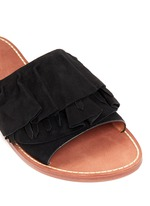 'Ann' kiltie ruffle suede slide sandals