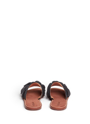 Back View - Click To Enlarge - 10 Crosby Derek Lam - 'Ann' kiltie ruffle suede slide sandals