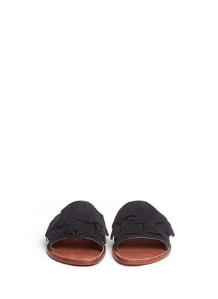 Front View - Click To Enlarge - 10 Crosby Derek Lam - 'Ann' kiltie ruffle suede slide sandals