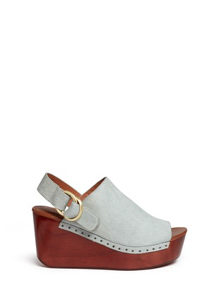 Main View - Click To Enlarge - 10 Crosby Derek Lam - 'Fiona' wooden wedge calf hair slingback sandals