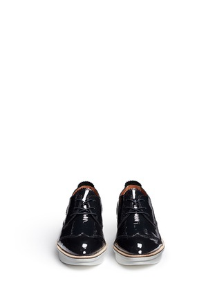 Front View - Click To Enlarge - 10 Crosby Derek Lam - 'Grady' platform patent leather brogue Derbies