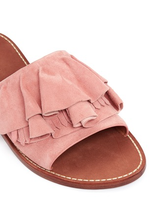 Detail View - Click To Enlarge - 10 Crosby Derek Lam - 'Ann' kiltie ruffle suede slide sandals