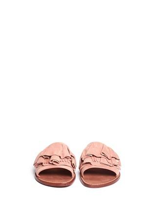 Front View - Click To Enlarge - 10 Crosby Derek Lam - 'Ann' kiltie ruffle suede slide sandals