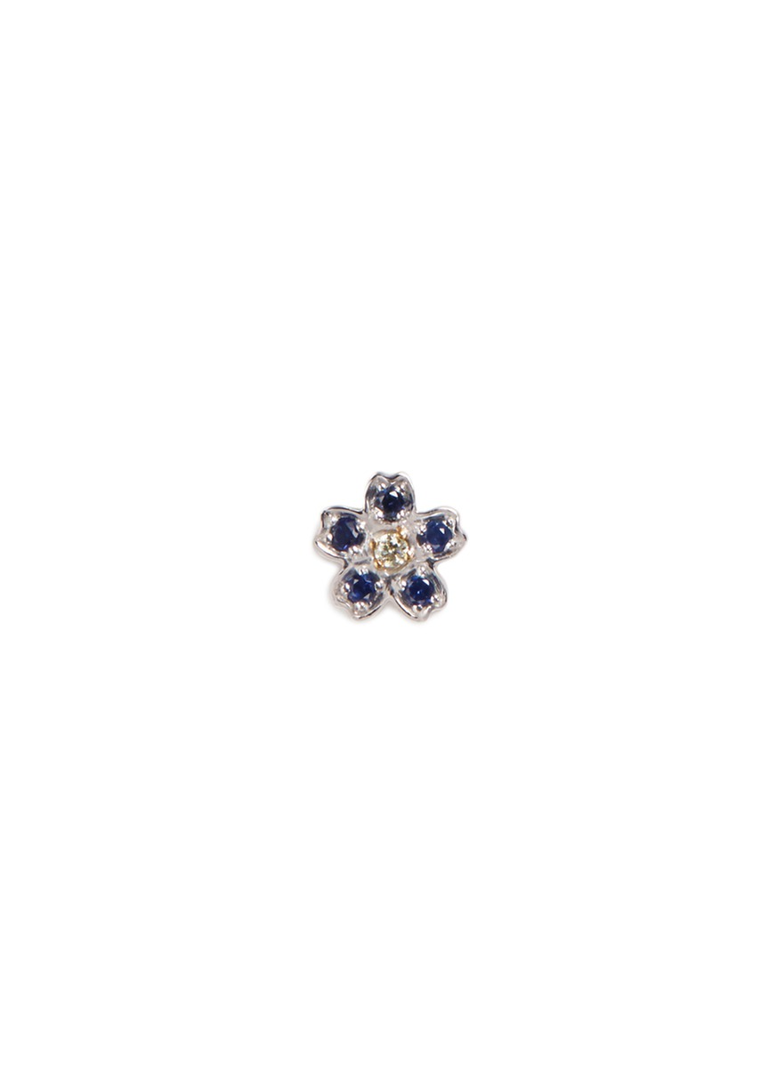 LOQUET LONDON Diamond sapphire 18k white gold forget me not charm