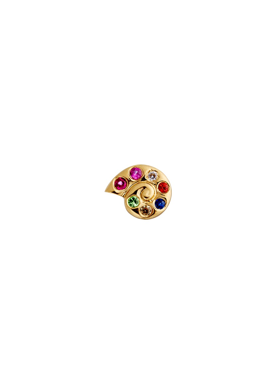 18k yellow gold sapphire shell charm – Protection by Loquet London
