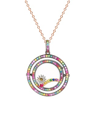 Figure View - Click To Enlarge - Loquet London - 14k black gold diamond rainbow revolving locket - 22mm
