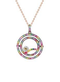 Loquet London14k black gold diamond rainbow revolving locket - 22mm