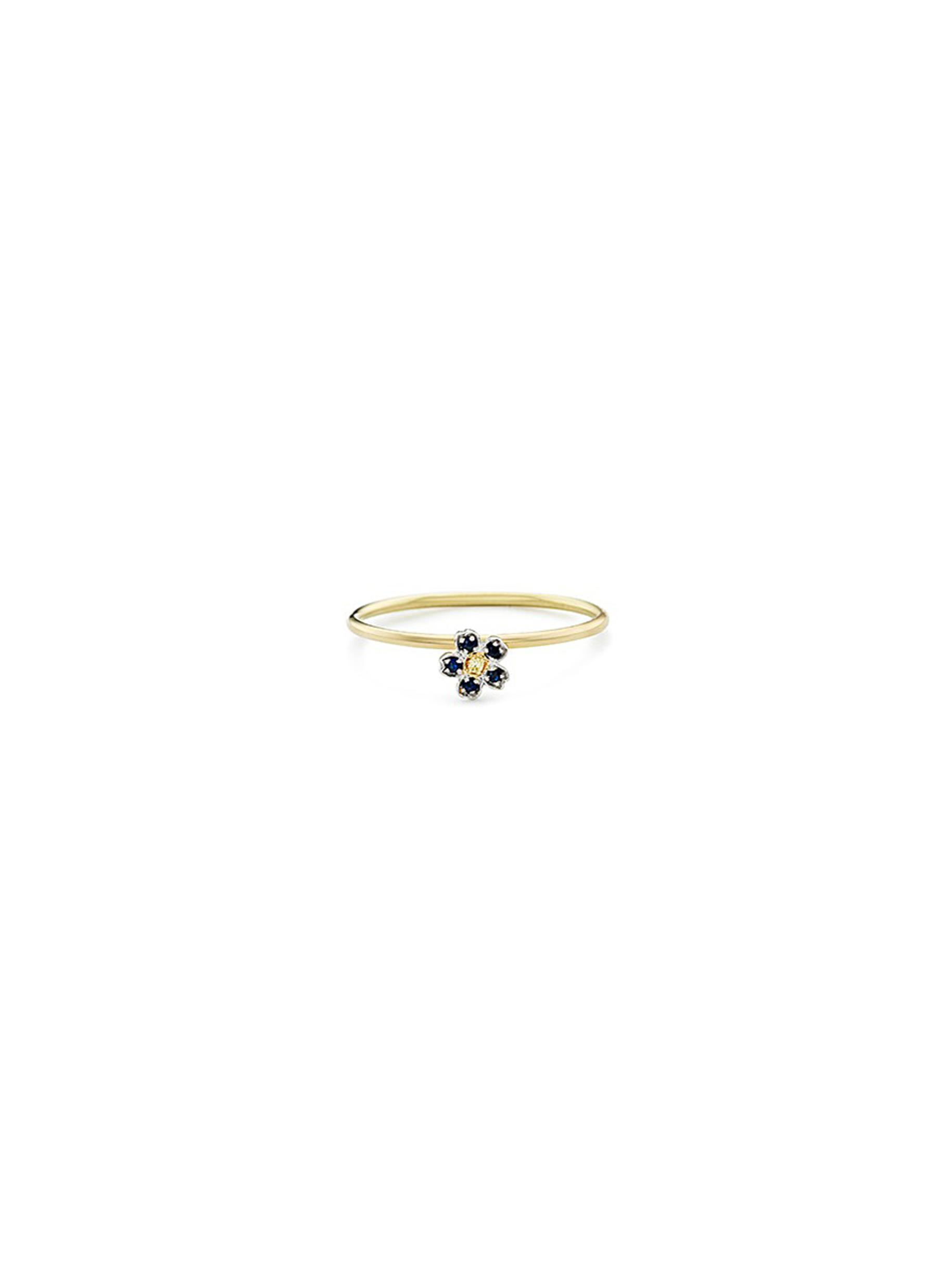 Diamond sapphire 18k yellow gold forget me not ring by Loquet London