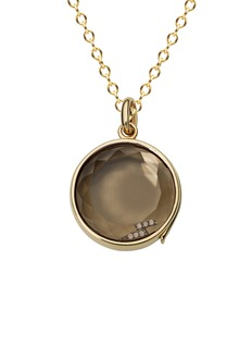 Loquet London 14k yellow gold smoky quartz round locket - Medium 18mm