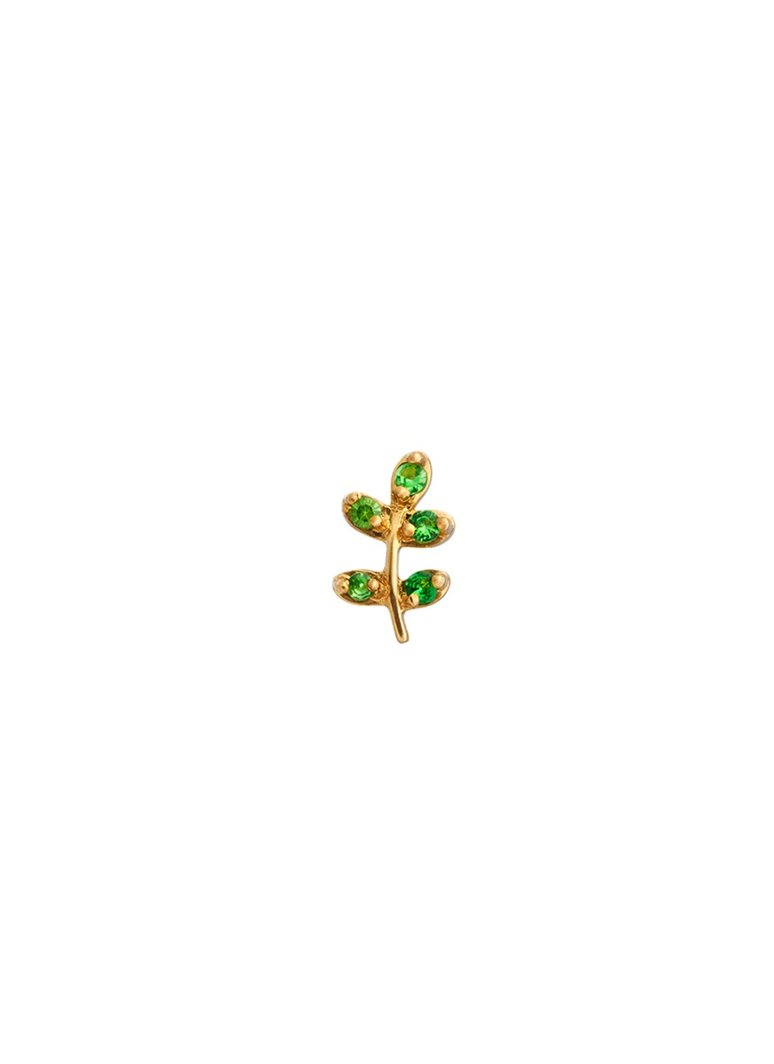 18k yellow gold tsavorite olive branch charm – Peace by Loquet London