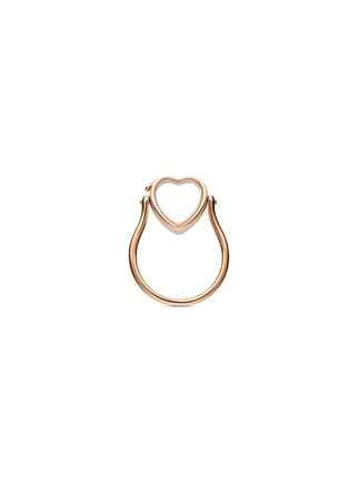 Main View - Click To Enlarge - Loquet London - 14k rose gold heart locket ring - Small 12mm