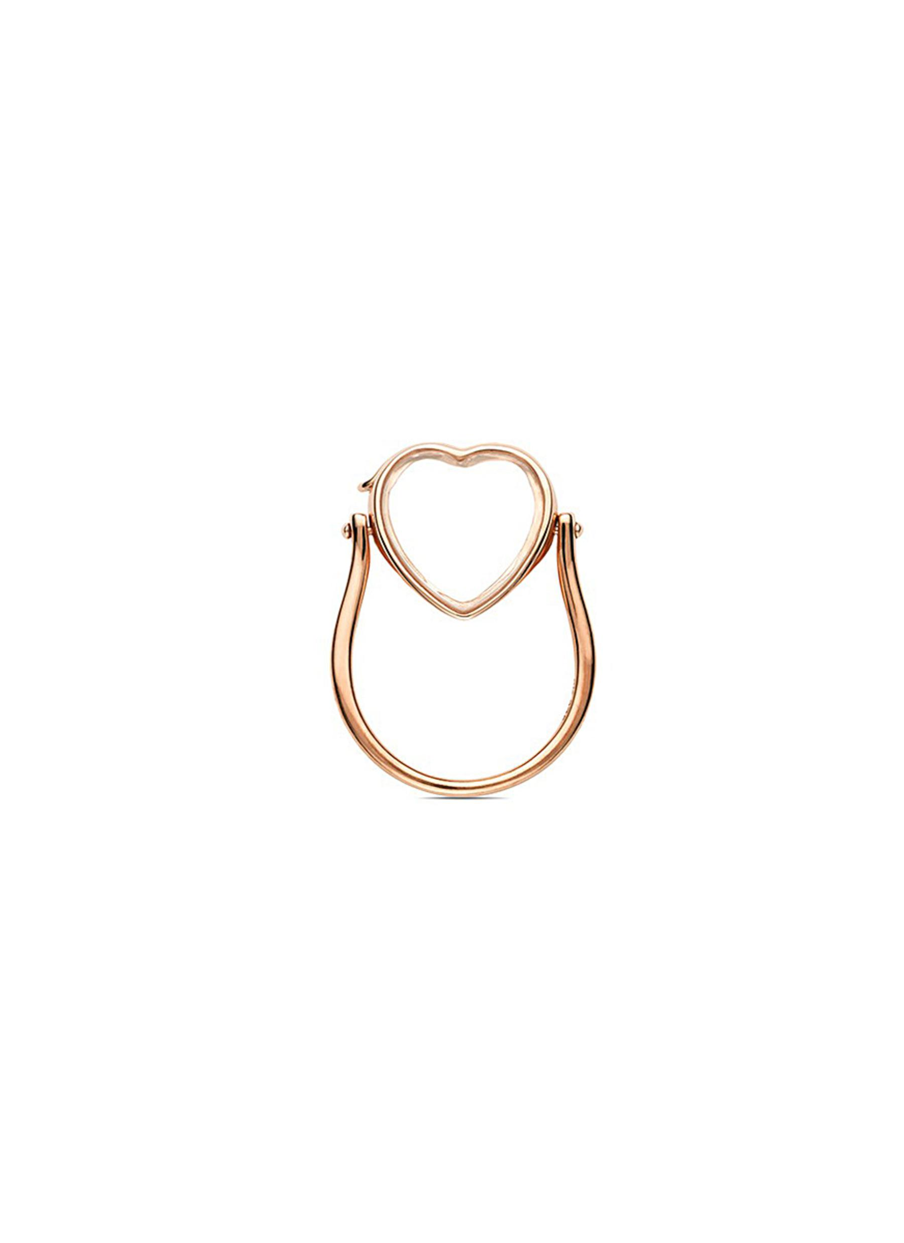 14k rose gold heart locket ring - Medium 15mm