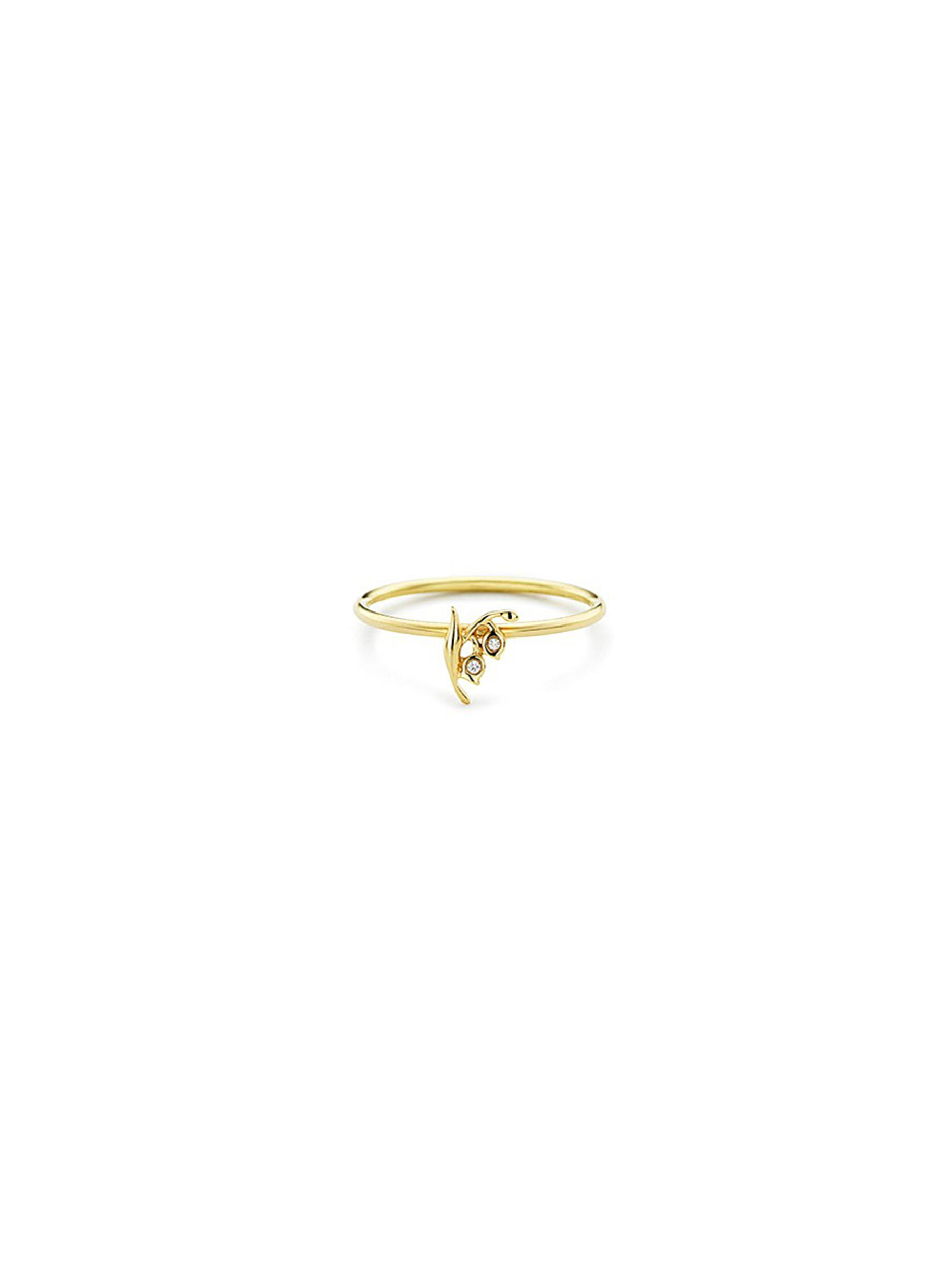 Diamond 18k yellow gold lily of the valley ring by Loquet London
