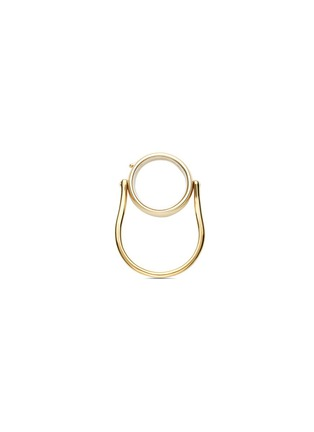 Main View - Click To Enlarge - Loquet London - 14k yellow gold round locket ring - Medium 15mm
