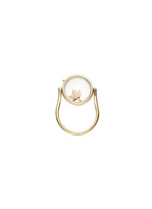 Loquet London-14k yellow gold round locket ring - Medium 15mm