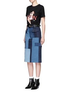 Jinnnn Snake effect belt cotton denim patchwork skirt