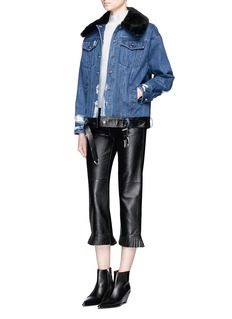 Jinnnn Rex rabbit fur collar distressed denim biker jacket