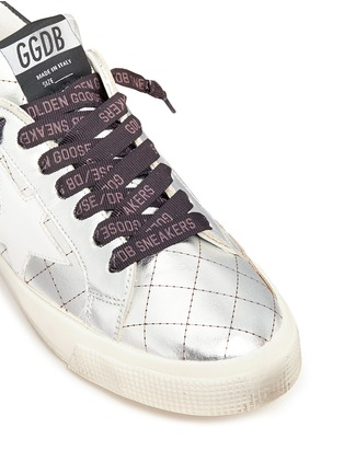 Detail View - Click To Enlarge - Golden Goose - 'May' matelassé metallic faux leather sneakers