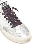 'May' matelassé metallic faux leather sneakers
