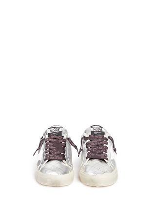 Front View - Click To Enlarge - Golden Goose - 'May' matelassé metallic faux leather sneakers