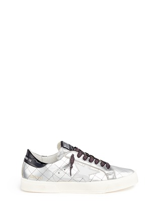 Main View - Click To Enlarge - Golden Goose - 'May' matelassé metallic faux leather sneakers