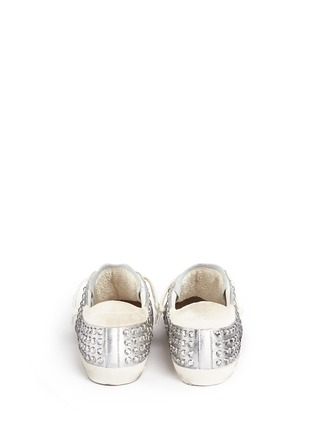 Back View - Click To Enlarge - Golden Goose - 'Superstar' strass pavé metallic leather sneakers