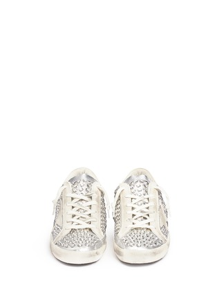 Front View - Click To Enlarge - Golden Goose - 'Superstar' strass pavé metallic leather sneakers