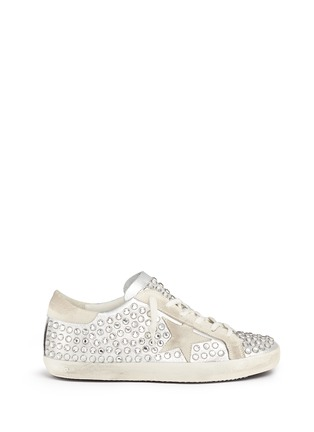 Main View - Click To Enlarge - Golden Goose - 'Superstar' strass pavé metallic leather sneakers
