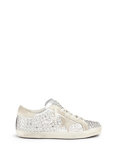 GOLDEN GOOSE 'Superstar' strass pavé metallic leather sneakers