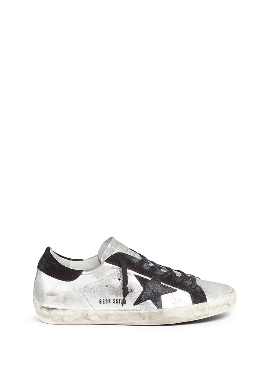 Superstar star patch metallic leather sneakers by Golden Goose
