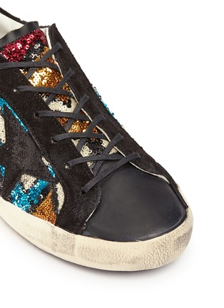 Detail View - Click To Enlarge - Golden Goose - 'Superstar' suede trim paillette sneakers