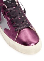 'May' star patch metallic leather sneakers